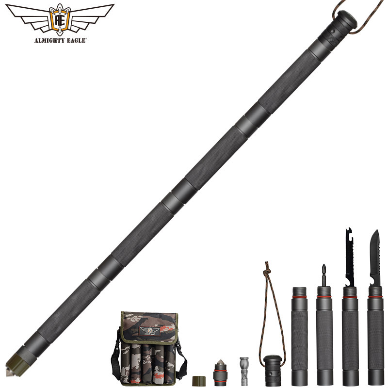 ALMIGHTY EAGLE Outdoor Defense Tactical Stick Alpenstock Hiking Camping Equipment Multifunctional Folding Tools Walking Sticks