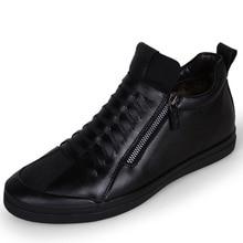 New Men Boots Warm Plush Mens Winter Shoes Fashion Men Snow Boots Zipper Male Ankle Boots Comfortable Genuine Leather Shoes