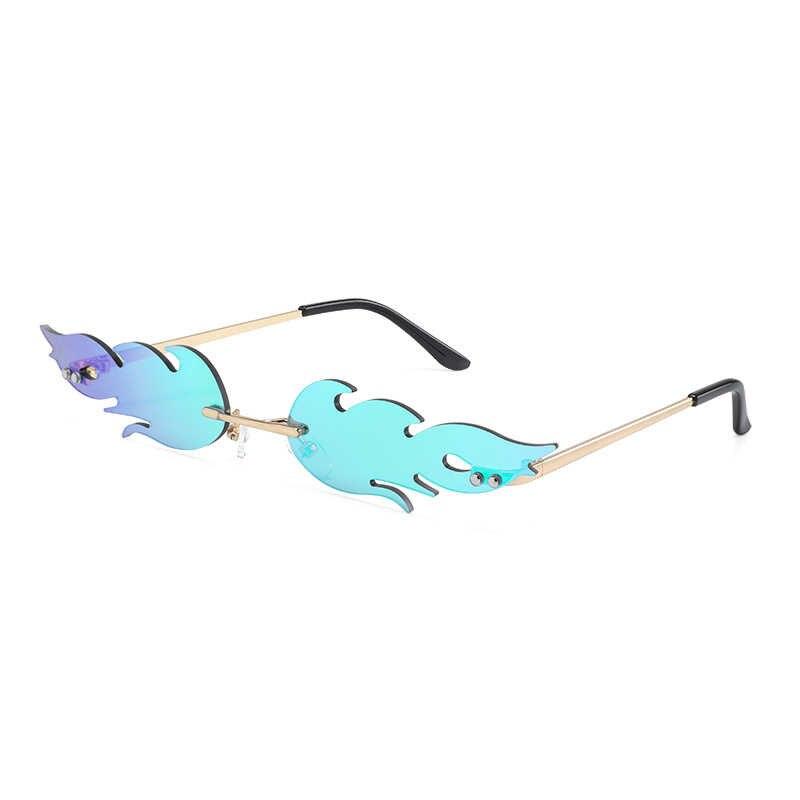 Fashion Mewah Api Kacamata Hitam Wanita Tanpa Bingkai Gelombang Matahari Kacamata Logam Warna untuk Vintage Wanita Cermin Kacamata UV400