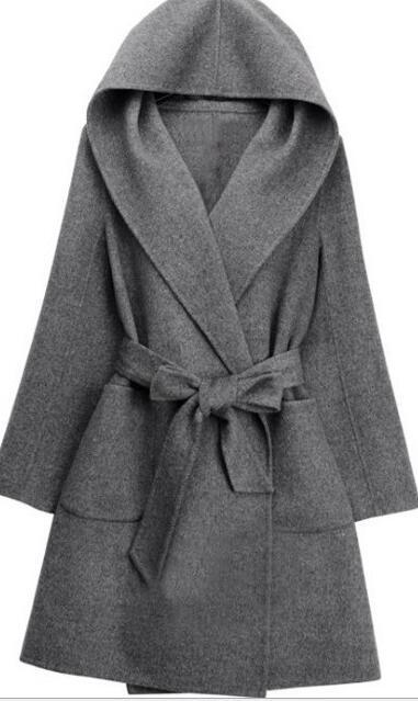 Женская зимняя Водолазка с длинным рукавом, Длинная накидка в английском стиле, винтажное шерстяное пальто, свободная Высокая уличная Роскошная зимняя накидка - Цвет: gray color