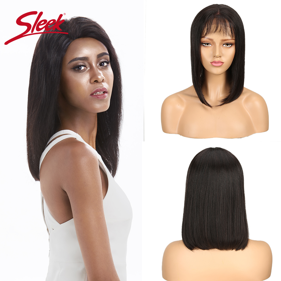 Sleek Short Human Hair Wigs 100% Remy Brazilian Hair Wigs Straight Bobo Lace Wigs Bangs Wig 150 Density Wigs 12 Inch Short Wigs