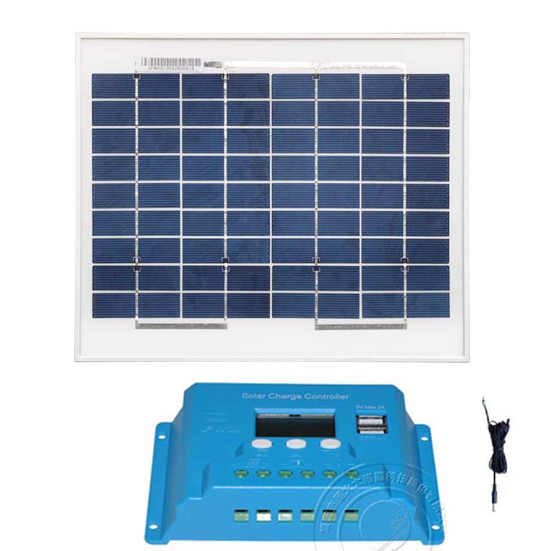 Kit Solar Panel 10w Polycrystalline Solar Charge Controller 12v/24v 10A Dual USB LCD DC Cable  Camping Car Camping Outdoor Light|Solar Cells| |  - title=