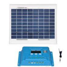 Kit Solar Panel 10w Polycrystalline Charge Controller 12v/24v 10A Dual USB LCD DC Cable  Camping Car Outdoor Light