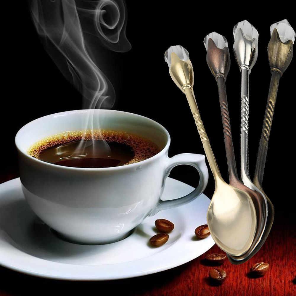 Colher de café colher de chá vintage vento inoxidável retro grande diamante colher de café açúcar chá sobremesa talheres utensílios de cozinha # ou