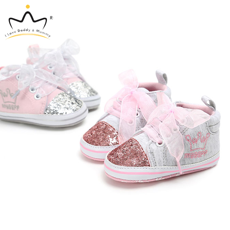 Baby Girl Shoes Sneakers Crown Print Lace Bows Bowknot Sequins Pink Princess Girls Shoes Soft Cotton Sole Infant Toddler Shoes