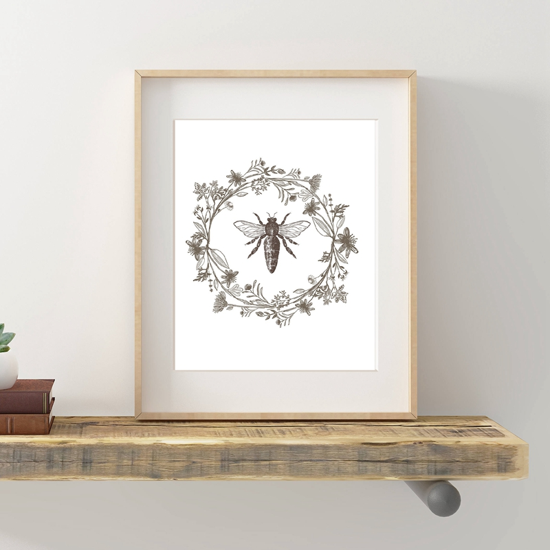 >Queen Bee Print Nature Botanical Poster <font><b>Farmhouse</b></font> <font><b>Style</b></font> Sign Home Wall Art Decor Modern Minimalism Canvas Painting Wall Picture
