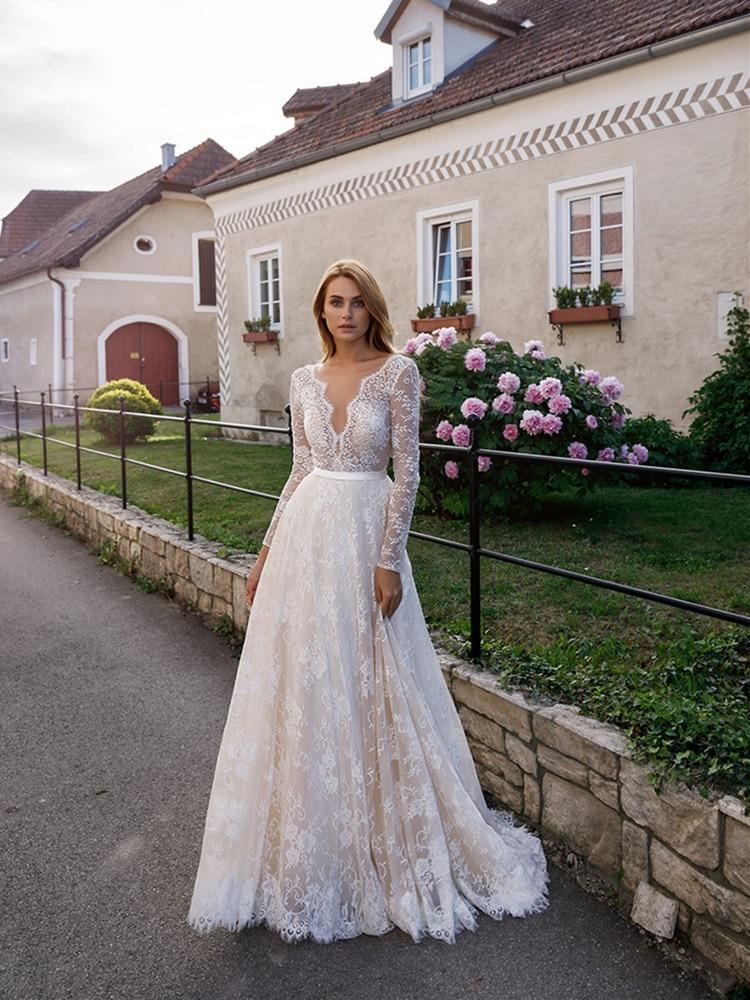 Boho Wedding Dress Full Lace Bohemian Long Sleeve V Neck Champagne Lining A Line Bridal Gowns Vestidos De Noiva Custom Size