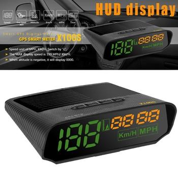 Car OBD HUD Display Solar GPS LED KMH MPH Speedometer Alarm Auto Safe Warning FKU66