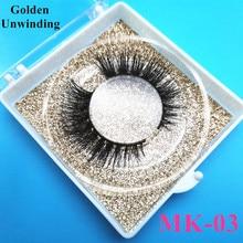Golden Unwinding MK-03 wholesale short mink eyelashes 3d false+eyelashes 3d mink long lasting custom box lash vendor