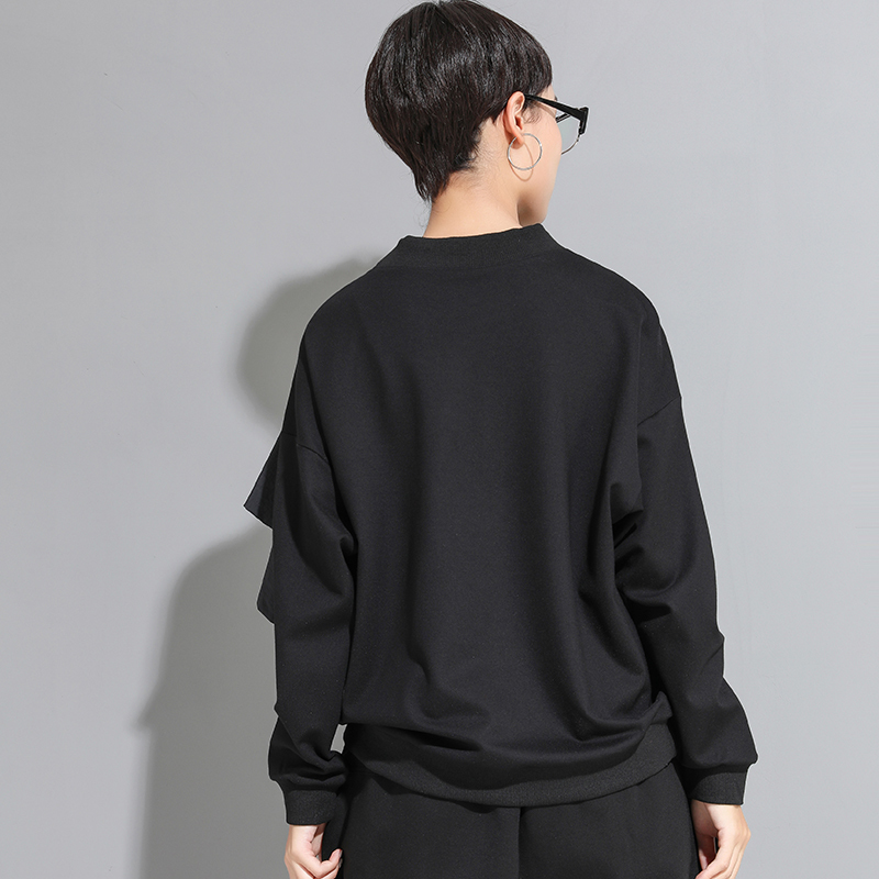 [EAM] Women Loose Fit Mesh Ruffle Spliced Big Size T-shirt New Round Neck Long Sleeve Fashion Tide Spring Autumn 2020 1A937 5