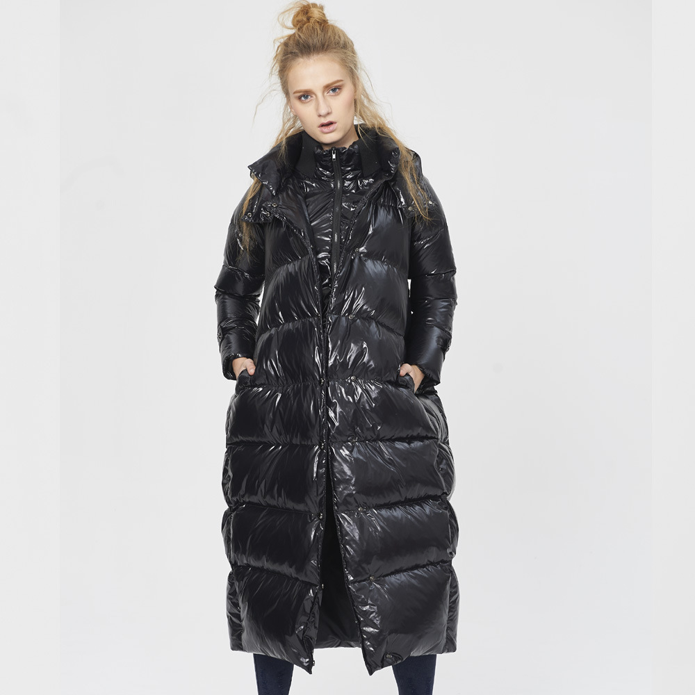 Jacket Winter Women Parka 2020 European Brand White Duck Down Jackets For Women Thick Loose Long Hood Coat Woman Plus Size HJ531
