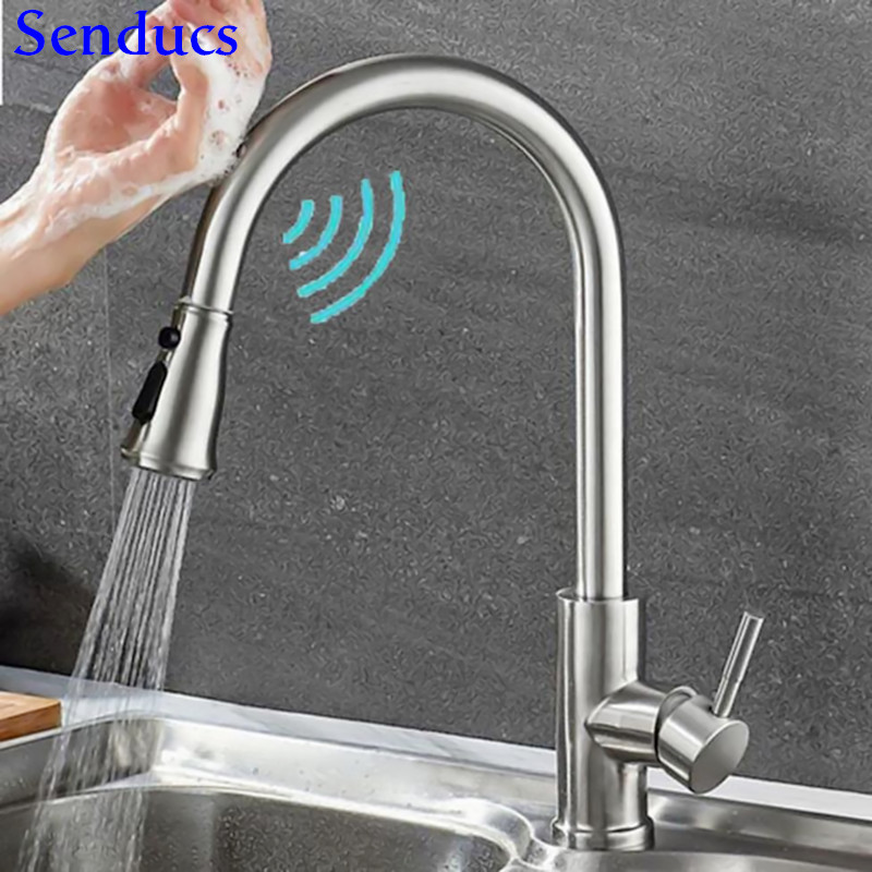 Touch Mixer Tap Senducs Pull Down Sensor Kitchen Faucet Quality Brass Touching Bathroom Basin Faucet Automatic Kitchen Faucets