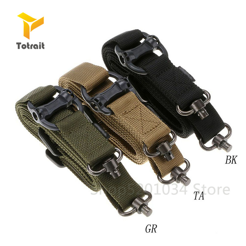 TOtrait Tactical 2 Single Point Gun Sling Rifle Sling Bungee Strap Safety Nylon Belt Rope With Metal Hook For Hunting