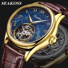 Oryginalny Seagull Tourbillon mężczyźni zegarek Sapphire Starry sky Dial KOPECK Tourbillon ruch męskie zegarki mechaniczne orologio uomo