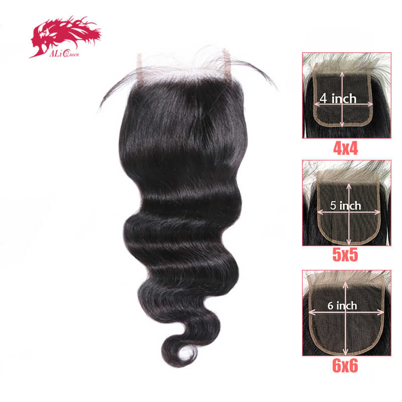 "Hd Transparante 4x 4/5X5 Vetersluiting Braziliaanse Body Wave 100% Remy Human Hair 10 ""-20"" Ali Queen Hair Gratis Deel Vetersluiting"