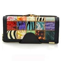 Mosaic Genuine Leather Women Wallet Female Long Clutch Lady Big Capacity Wallet Card holder Zipper Coin Purse Phone Pocket Carte