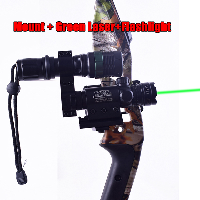 """Red//grreen Laser Sight+1/""""//30mm Scope Ring Bow Archery Compound Bow Flashlight"""
