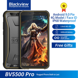 Перейти на Алиэкспресс и купить blackview bv5500 pro ip68 rugged smartphone waterproof 3gb+16gb 5.5дюйм. screen 18:9 4400mah android 9.0 nfc face id dual sim phone