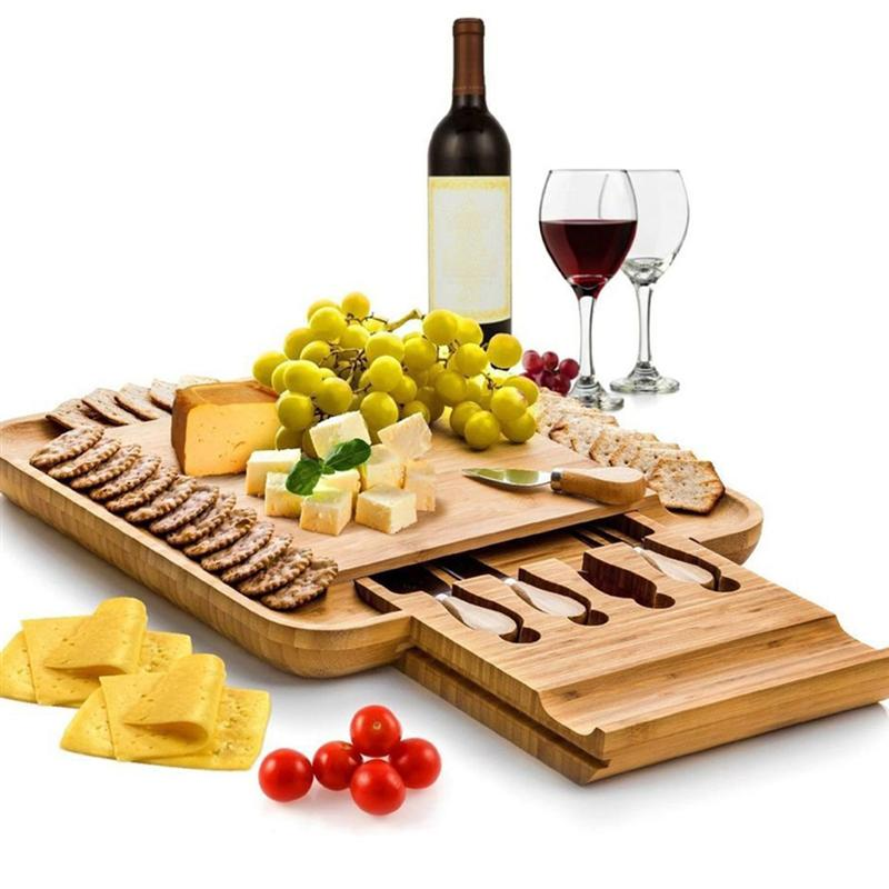 Bamboo Cheese Board Cutter Set Slide-out Drawer Serving Platter Tray Cutting Board for Cheese Fruit Vegetable Kitchen Storage 1