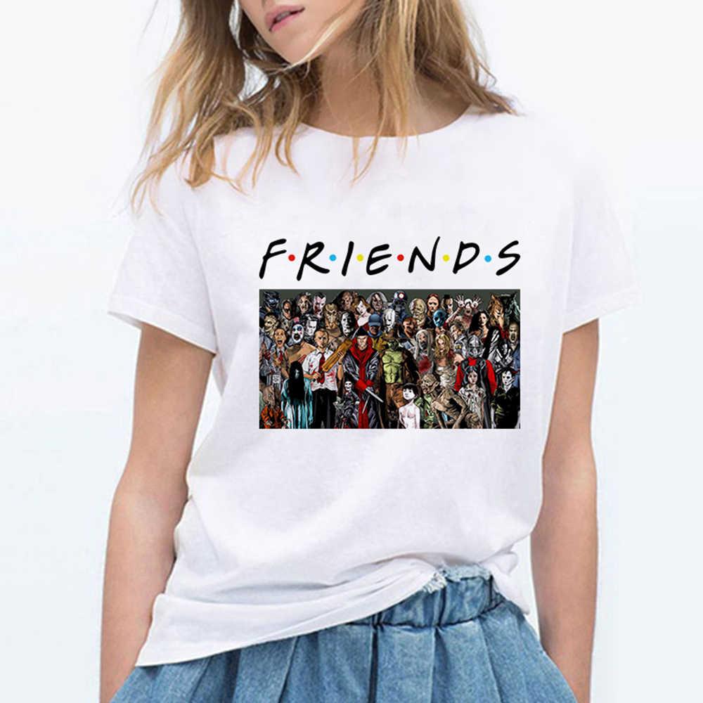 Film terroru czarny charakter przyjaciół kobiety koszulki śmieszne Vogue Harajuku lato graficzny Hipster Plus Size ponadgabarytowych T Shirt Футболка