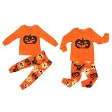 купить Infant Baby Boys Girls Sets Casual Children\'s Halloween Ghost Pumpkin Print Long Sleeve Sleepwear Outfit Set дешево