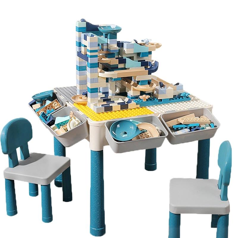 Multi Functions Block Table Desk Base Plate Study Table Big Bricks Building Blocks Compatible Duploed Blocks Gift For Children