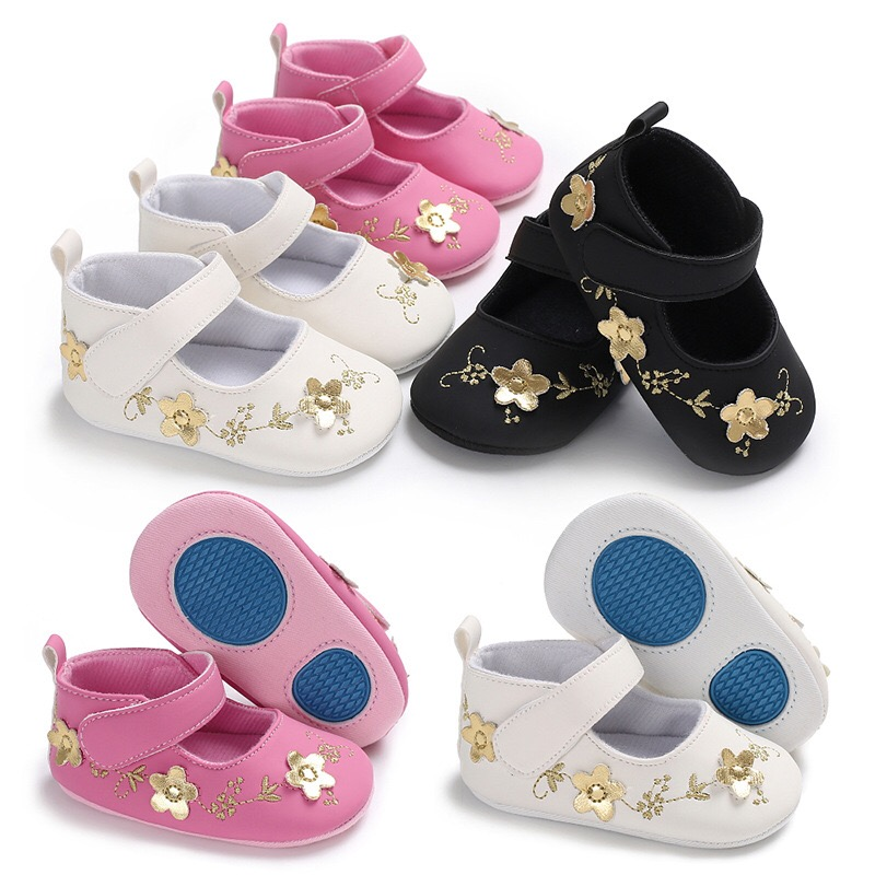Baby Girl Shoes Golden Flower Embroidered Soft Sole Shoes Prewalker Walking Toddler Kids Shoes First Walker