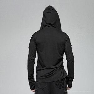 Image 3 - PUNK RAVE Gothic Mens Black Mysterious Men Long Sleeve T shirt Punk Rock Hooded Show Thin Sweatshirt Irregular Casual Tops Tees