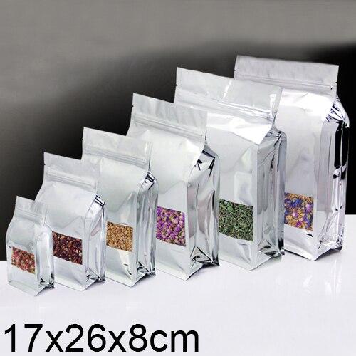 Алюминий пленка замка застежка молнии стоьте вверх мешок упаковка мешок с окном 17x26x8 см 50 шт./лот