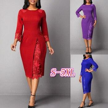 BacklakeGirls Elegant Lace O-Neck Full Sleeve Women Cocktail Dress Plus Size Mother Of Bride Dress Robe Mere De La Mariee 1