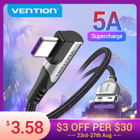 Vention-Cable USB tipo C 5A para Huawei Mate 30 P40 P30, Cable de carga rápida 3,0 SCP, 40W, USB-C