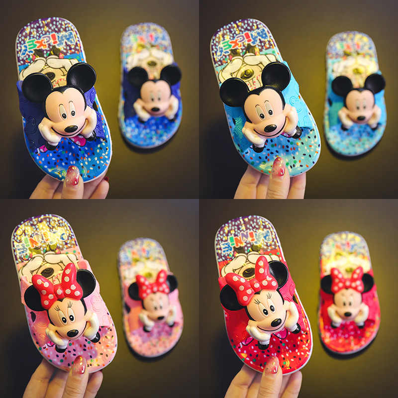 Children's Sandals Boys Girls Slippers Summer Flip Flop 3D Cartoon Mickey School Girls Beach Slippers Kids Shoes Sandal PVC 2019