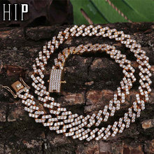 Hip Hop Full Iced Out Zircon Paved Rhinestones 10MM Miami Curb Cuban Chain Bling Rapper Bracelet Necklaces For Men Jewelry