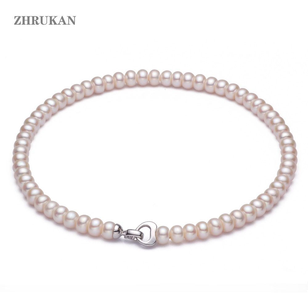 Pearl Choker Necklace Jewelry 925-Sterling-Silver Natural-Freshwater-Pearl Wholesale
