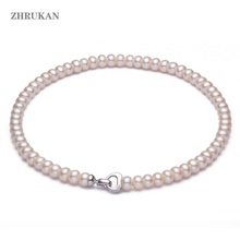 Natural Freshwater Pearl Necklace Jewelry 925 Sterling Silver Pearl Choker Necklaces For Women Gift Wholesale runzhuqiyuan 2017 100% natural freshwater pearl choker necklace 7 8mm real pearl 925 sterling silver choker necklace for women