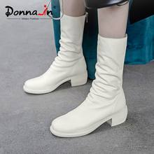 Donna-in Genuine Leather Mid Calf Boots For Women Med Heel With Platform Boots Ladies Zip Pleated Casual Shoes Women White Black(China)