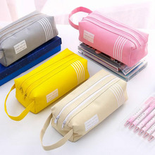 Double Zipper Large Pencil Case Kawaii School Pencilcase Canvas Big Pen Box For Girls Cute Stationery Supplies Pencil Bag Etui