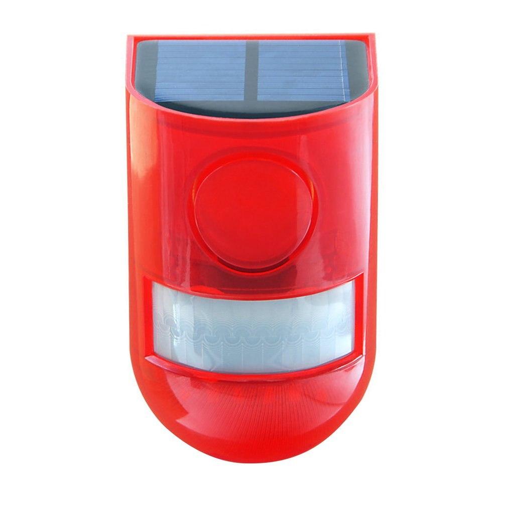 Солнечный звуковой сигнал Предупреждение вспышка, звуковой сигнал и светильник, датчик движения, 110 децибелов, сирена, стробоскоп, охранная