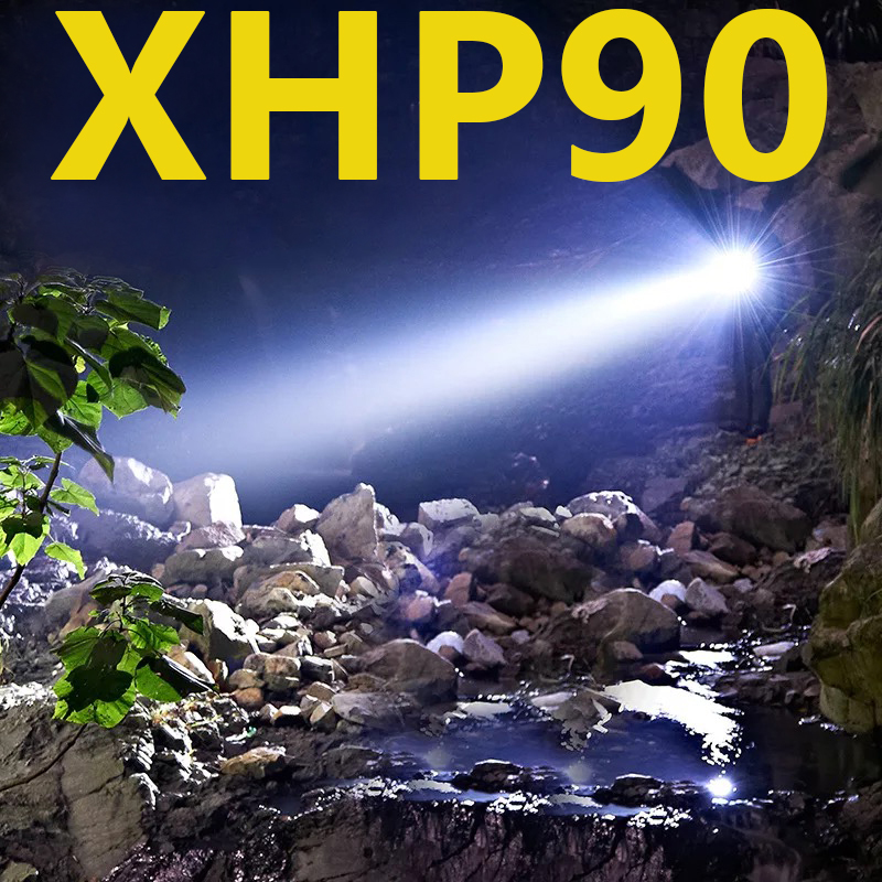 Brightest XHP90 XHP70.2 Rechargeable LED Flashlight Super Powerful Torch Waterproof Zoom Hunting Light Use 18650 Or 26650 Battey