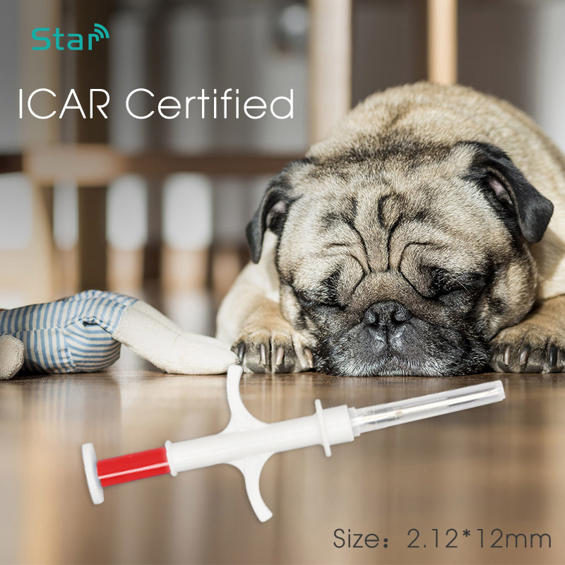 Imported Microchip ICAR Number 2.12x12MM EM4305 Glass Tags 134.2KHz FDX-B Animal PET ID Syringes EO Gas Disinfection Injectors