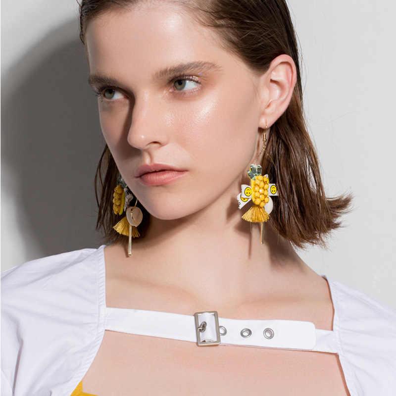 2019 新 Brinco タッセルイヤリングシェルイヤリングファッション人格 M パイナップルビーズ耳飾り女性ロングマネー手で