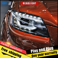 2PCS Car Style LED headlights for Audi Q7 2006 2015 for Q7 headlamp LED DRL Lens Double Beam H7 HID Xenon bi xenon lens