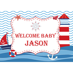 Image 3 - Allenjoy navy backdrop Birthday party sea theme newborn baby shower blue stripes Anchor Photophone Background for photocall