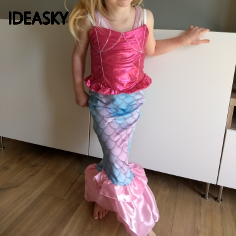 pink green the little mermaid tail ariel costume princess ariel dress party cosplay dresses for baby girls kids halloween fancy