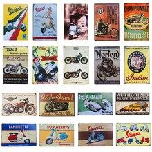 Retro Vintage carteles de Metal Vespa de motocicletas de la India para Pub Bar garaje de aceite de Gas Bar Placa de hierro cartel Adhesivo de pared de Casa Decoración