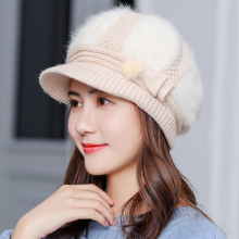 New Adjustable Winter Women Rrabbit fur ball cap winter hat girl knitted hats skullies beanies brand new thick female