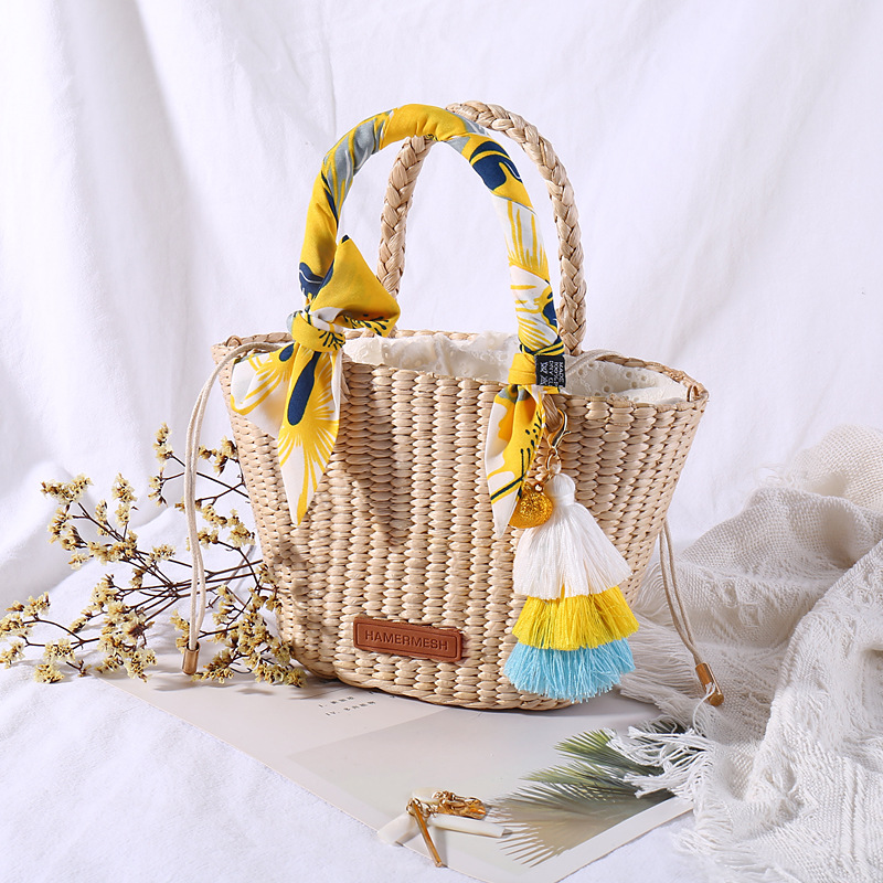 Natural Basket Handmade Straw Bag Woven Handbags Sea Grass Beach Bag Top Handle Bag Wedding Gift Small Size