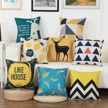 45x45cm Geometry Deer Printed Cushion Cover Cotton Linen Pillowcases Chair/Car/Sofa Pillow Cover Home Decorative fuwatacchi linen lovely bird printed cushion cover flower photo pillow cover for home chair sofa decorative pillowcases 450x45cm
