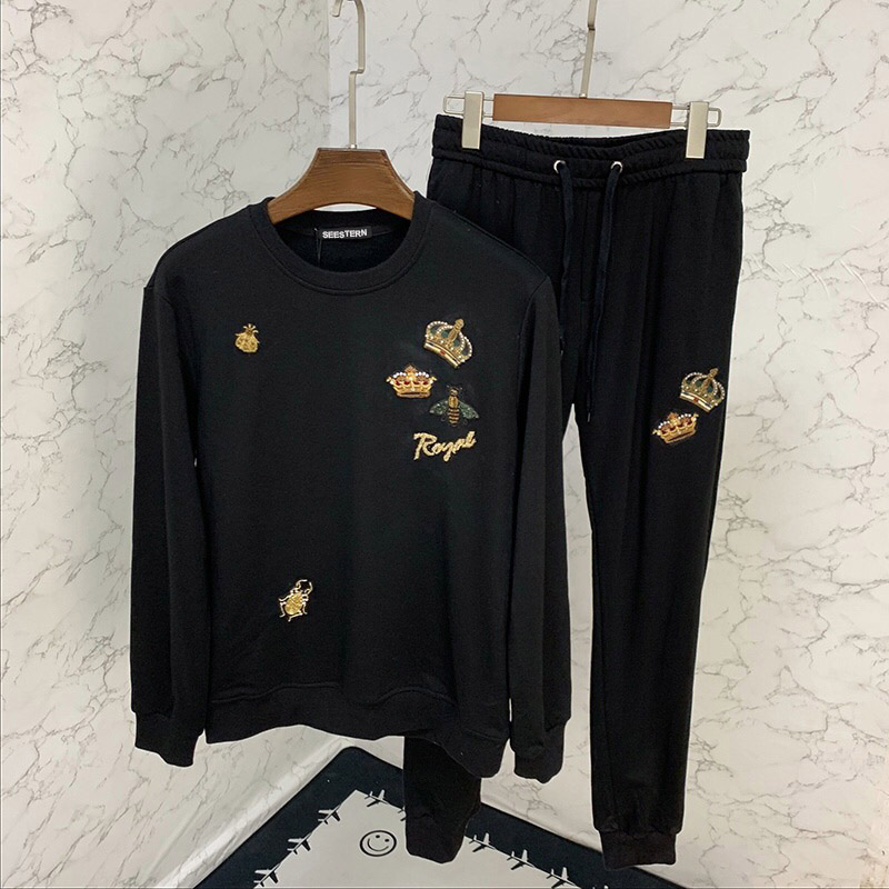 Seestern Brand Mens 2-piece Suit Fashion Applique Embroidery Crown Bee Autumn Winter Leisure Long Sleeve Hoodie Pants Sportswear