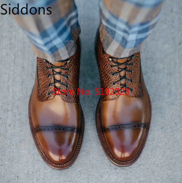 Men Leather Shoes High Heel Casual Oxford Shoes Dress Shoes Brogue Shoes Winter Ankle Boots Vintage Classic Male Casual  D323